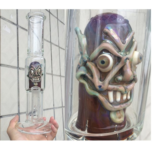 factory price wholesale crazy face ,2015 new glass bong 18.8mm female highly 13.77 inch Free shipping