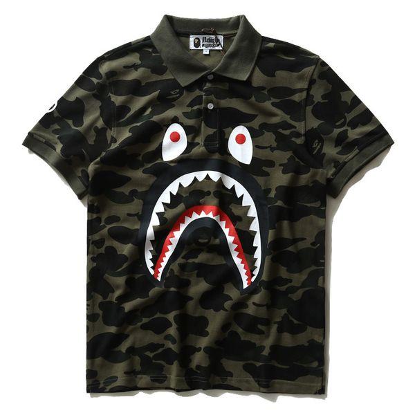 New Mens tide camuffamento uomini bocca squalo casual T-shirt bavero sciolto maniche corte