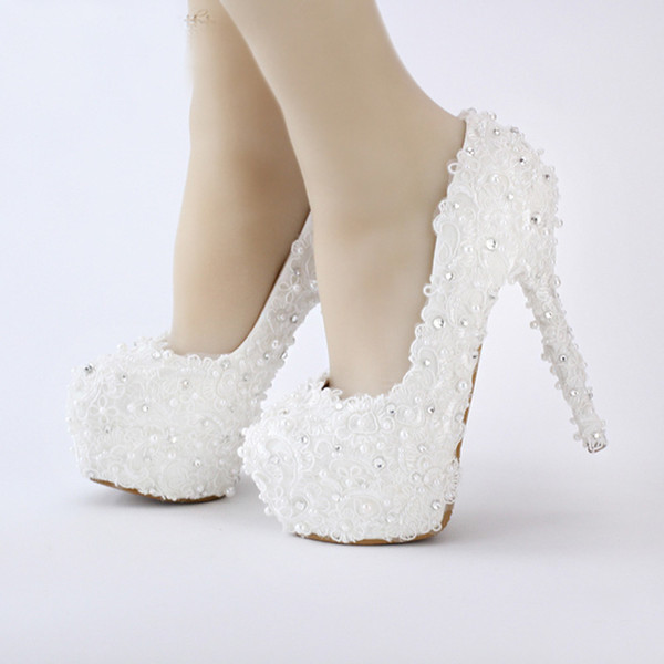 Free Shipping White Lace Bride Shoes Evenign Prom Bridal Dress Shoes 14cm High Heels Platform Bridesmaid Shoes Fashionable Pumps