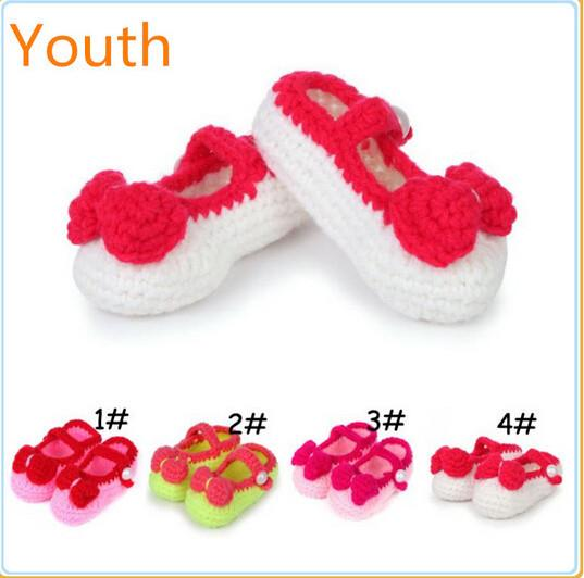 Top quality hand crochet baby shoes new design flower crochet baby girls shoes crochet knitting baby shoes s 0-12M customer