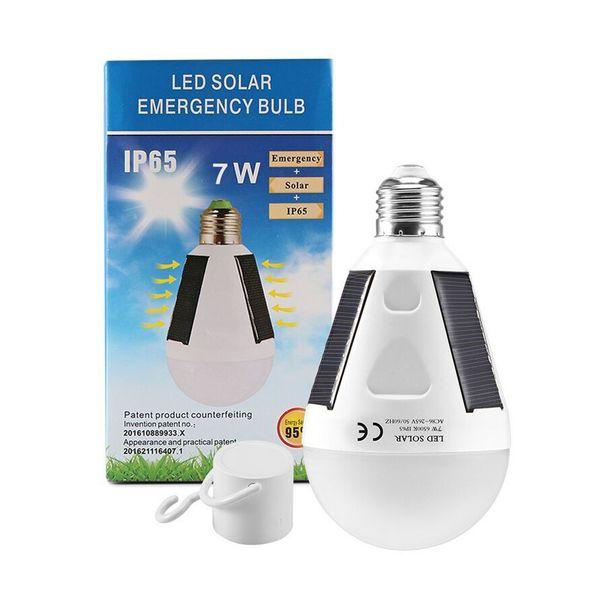 top popular E27 7W 12W Solar Lamp 85-265V Energy Saving Light LED Intelligent Lamp Rechargeable Solar Emergency Bulb Daylight 2021