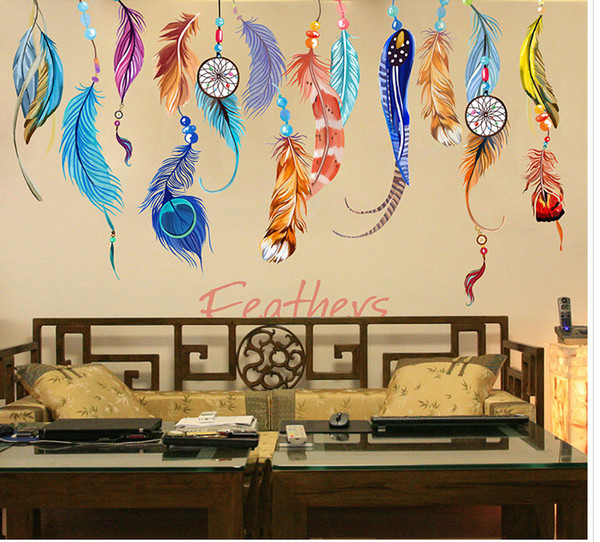 Colorful Feather Wall Art Mural Poster Decor Creative Long Feather Earrings Wallpaper Decal Sticker Living Room TV Sofa Background Art Decal