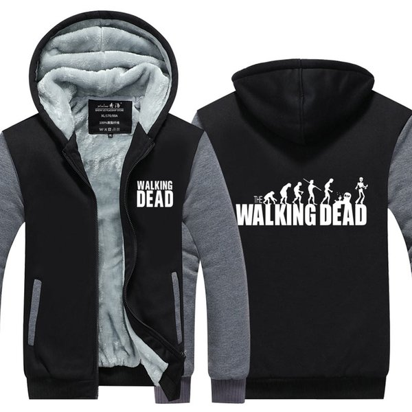 New The walking dead Hoodies Mens Daryl Dixon Sunset Zombies Thicken Zipper Casual Tops Jacket USA EU size Plus size
