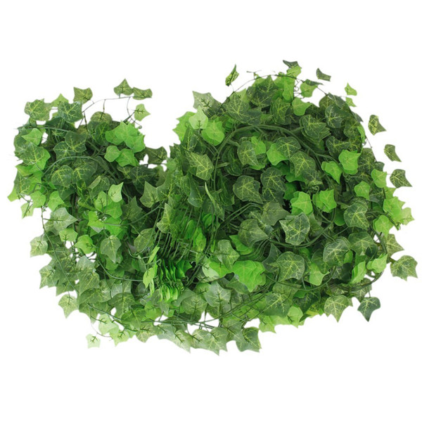 12pcs 2.4m Atificial Fake Hanging Plant Leaves Garland For Home Garden Wall Decoration Flower Planter Green Field