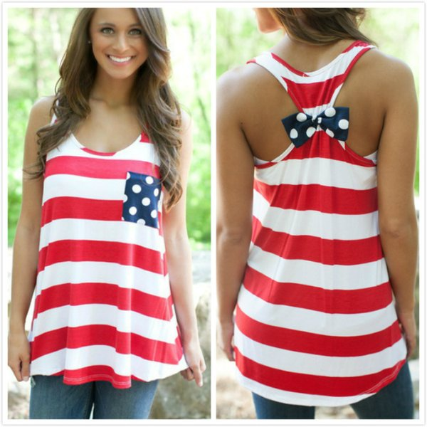 best selling FG1509 Women Tank Tops Striped American Flag Printed Patchwork Back Bow Sleeveless USA Casual Vest Pink Red Dark Blue S - XL