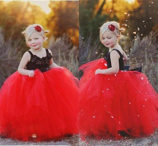 Lovely Black and Red Flower Girl Dresses Tulle 2017 Spaghetti Applique Puffy Skirt Prom Party Gowns for Kids Custom Cheap Pageant Dress