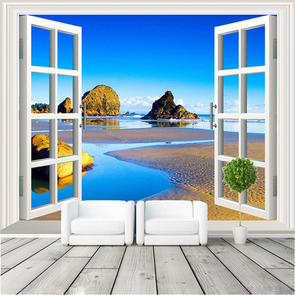 3D Window View Photo Wallpaper Natural Scenery Wall Mural Custom Large Size Non Woven Canvas