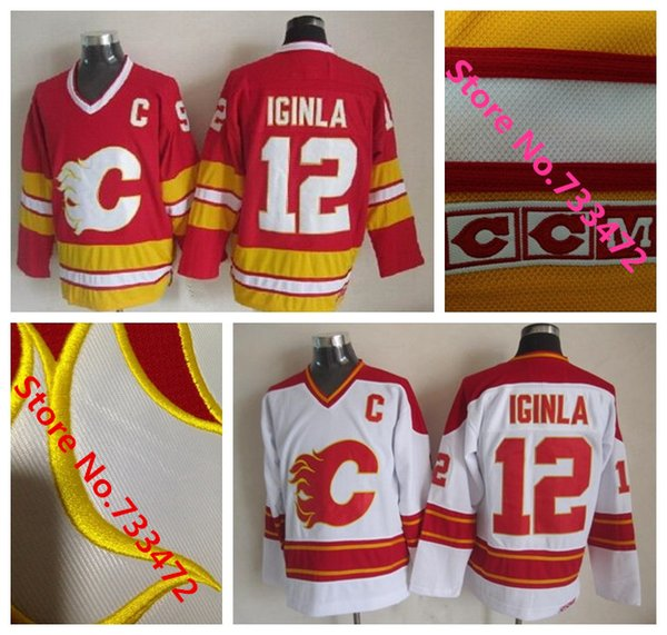 1981-94 Throwback Uniform Calgary Flames 12 Jarome Iginla Red White . ... b33597964