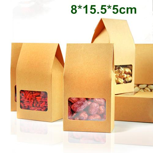 Wholesale 200Pcs/Lot 8*15.5*5cm Kraft Paper Box With Clear Window DIY Gift Packaging Food Storage Packing Oragan Bag For Snack Cookies Nuts