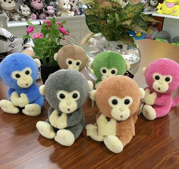 6 colors Lovely Genius Monkey Stuffed Animal Toy with Big Eyes Kids Gift for Festival Birthday Party 18cm