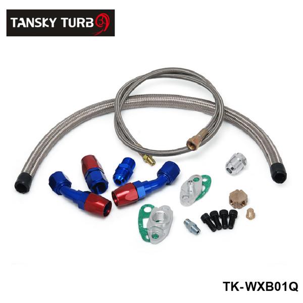 best selling TANSKY - T3 T4 T3 T4 T70 T66 TO4E Turbo Oil Feed Line Oil Return Line Oil Drain Line Kit blue and red TK-WXB01Q
