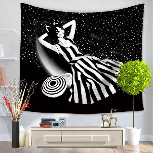 Moderne Tapisserie Cartoon Catwoman 150x130cm 150x200cm Wanddecken Dekoration Blätter Mandala Tapisserie Wandbehang Turture Wandbild