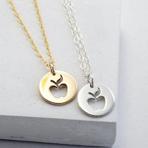10PCS- N123 Gold Silver Cute Apple Necklace Simple Funny Outline Fruit Necklace Teacher Necklaces Circle Disc Necklaces for Coin Jewelry
