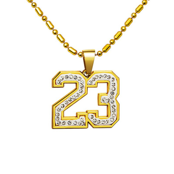 31inch simple crystal basketball superstar Letter 23 pendent necklaces 18k gold plated fancy necklace hip hop Jewelry accessories