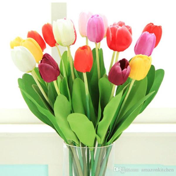 Flores artificiais Simulação de Tulipa Festa de Casamento Casa Flores Decorativas Decoração de Festa Flores de Exibição Miau Colorido Simples