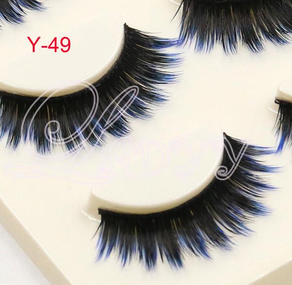 Y-49 3pair/pack mixed Colors Eyelashes Lady Natural Soft Black Fake Eye Lashes Handmade Thick Fake False Eyelashes blue Color Makeup Tools