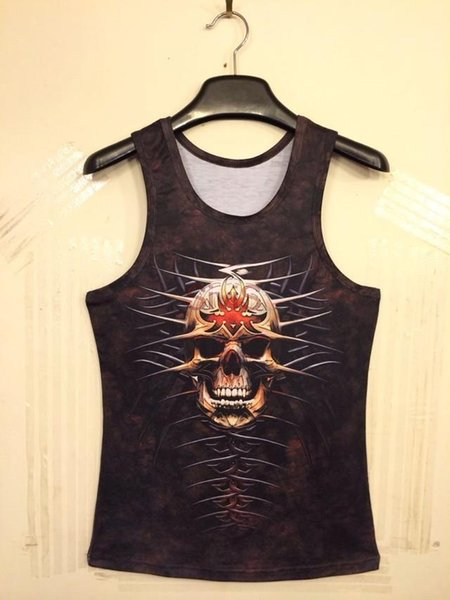Fashion women men's animal/skull 3d leopard print sleeveless T Shirt 3D vest tank tops mens sports wear shirts Plus size