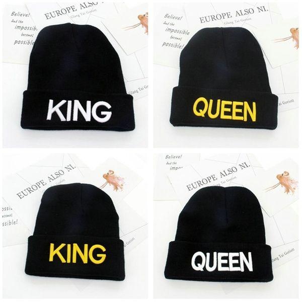 Compre Invierno De Punto Carta Sombrero Cap KING QUEEN Sombreros ...