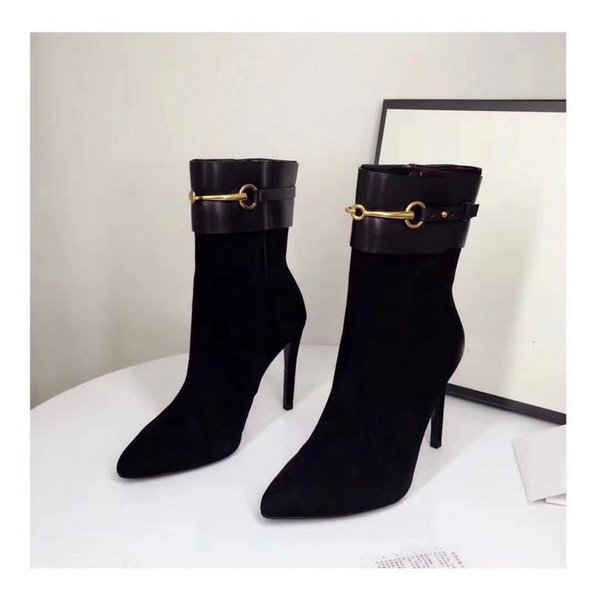 Luxury New Womens Ankle Boots High Heel 10CM Knight Fashion 100% Sheepskin Suede Leather Shoes Size 35-40
