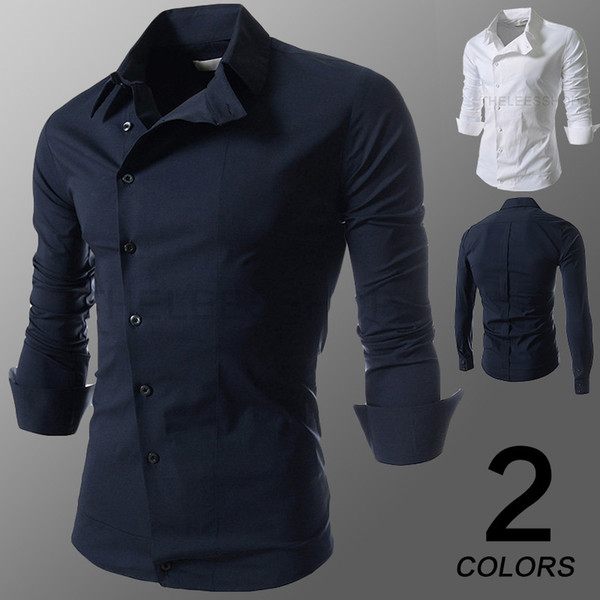 top popular 2015 new Men's Long Sleeve Solid Casual Shirt Slim Fit Casual Shirts Tops Western casual long-sleeved shirt buttons oblique shirts mens 2020