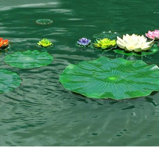 best selling Free Shipping 17CM Garden Home Decor Artificial Flower Lotus Leaf EVA Material Fish Tank Water Pool Decorations Green Plant Craft Ornament