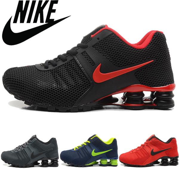 Mens Nike Air Shox Flyknit Running Shoes Black White NIKE ND008114
