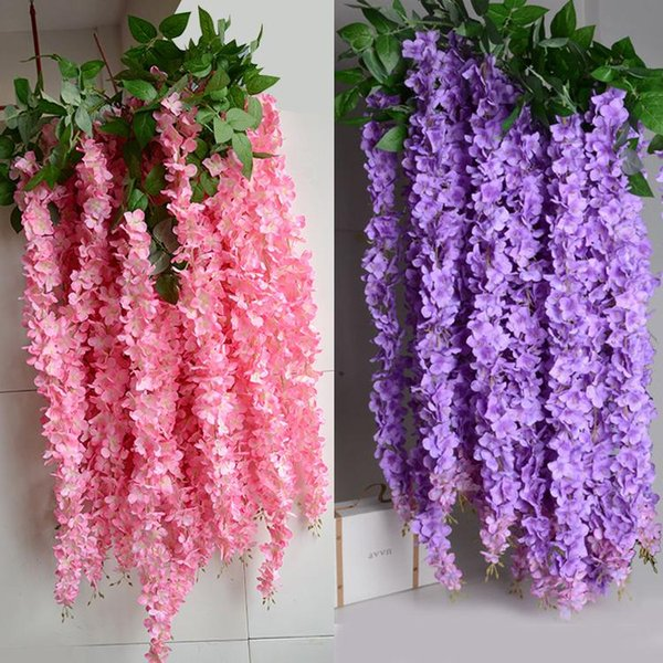 1.6M Artificial Wisteria Flower Rattan Vines Garlands Silk Flower For Wedding Party Decorations Home Ornament