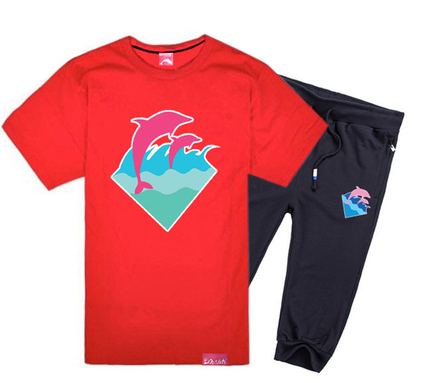 Pink dolphin short-sleeved pant suit cotton t shirts short set men's casual O-neck letter design t-shirts set,hiphop suit free shipping