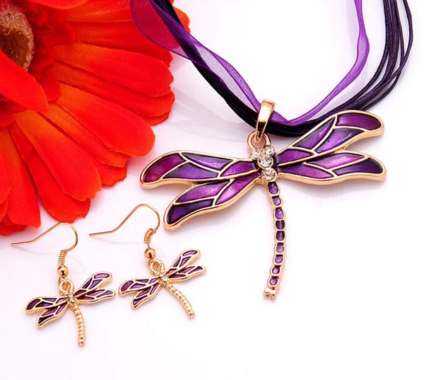 2pcs New Arrival Clear Austrian Crystal purple/red/black/green/blue Enamel Necklace Earrings dragonfly Jewelry Sets Women gift