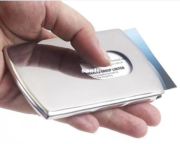 Vogue Thumb Slide in acciaio inossidabile Pocket ID Porta carte di credito Porta biglietti da visita