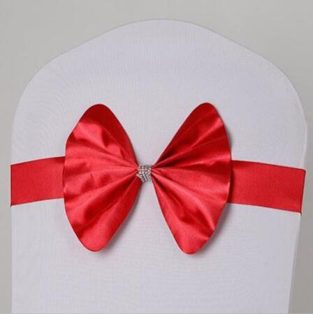 Free EMS DHL 100pcs (No need to Tie the Knot) Large Countryside Wedding Chair Cover Sashes Sash Party Banquet Decoration Decor Bow Colors