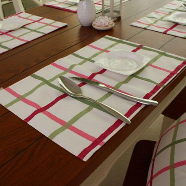 Color Plaid Party Table Placemats Doble Capas Aislamiento de Algodón Placemats Manteles de Tela de Navidad Decoración SD734