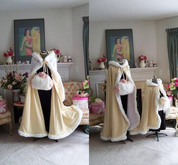 2018 Stunning Piano Lunghezza Colore Champagne Capes da sposa Mantelli di nozze Faux Fur perfetto per l'inverno da sposa Mantelli da sposa Cape Wedding Cape