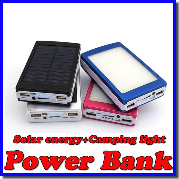best selling Wholesale -New 20000 mAh Solar and Camping light Battery Panel external Charger Dual 20000mah solar Charging Ports 5 colors choose for