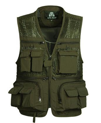 Fall- Summer Mesh Vests for Hunting Photographer Vest with Many Pockets Director Outdoor  Style Sleeveless Jackets M-4XL