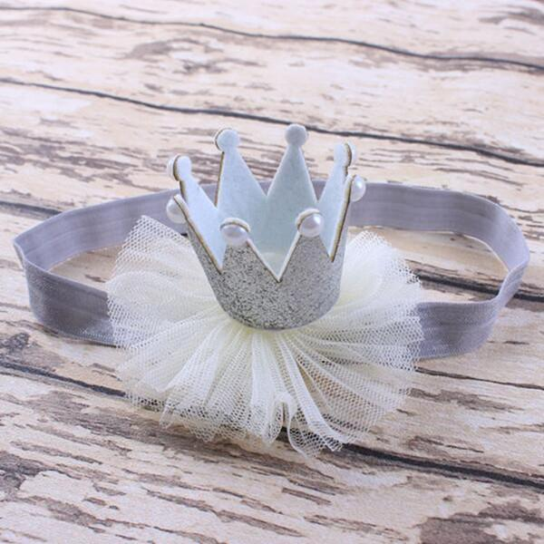 children acessories glittle crown headband for girls newborn photo prop silver baby birthday headband elastic headband for kids