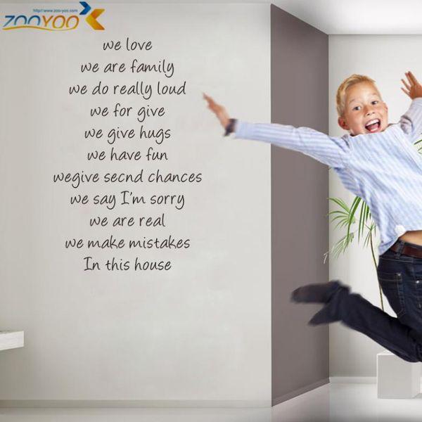 집 규칙 우리가 사랑하는 인용문 벽 스티커 홈 장식 zooyoo8281 diy 이동식 vinly 벽 스티커 데 칼 거실 벽 스티커