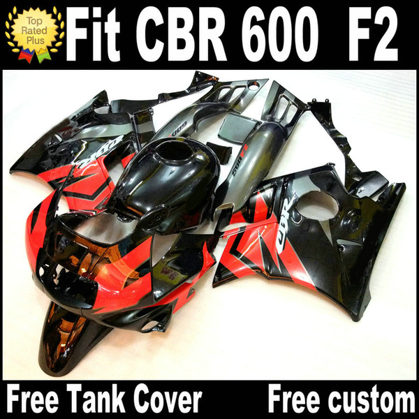 Free 7 Gifts fairing kit for HONDA CBR 600 F2 1991 1992 1993 1994 red black fairings CBR600 91 - 94 motobike RF12