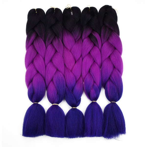 Ombre Braiding Hair For Crochet Twist Braid 24inch 100/pcs High temperature wire synthetic Two Tone afro Jumbo braid hair