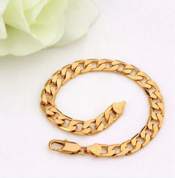 18K Yellow Gold Plated Chain Bracelet Men (200*10mm) with Environmental Copper bracelet safety chain chain