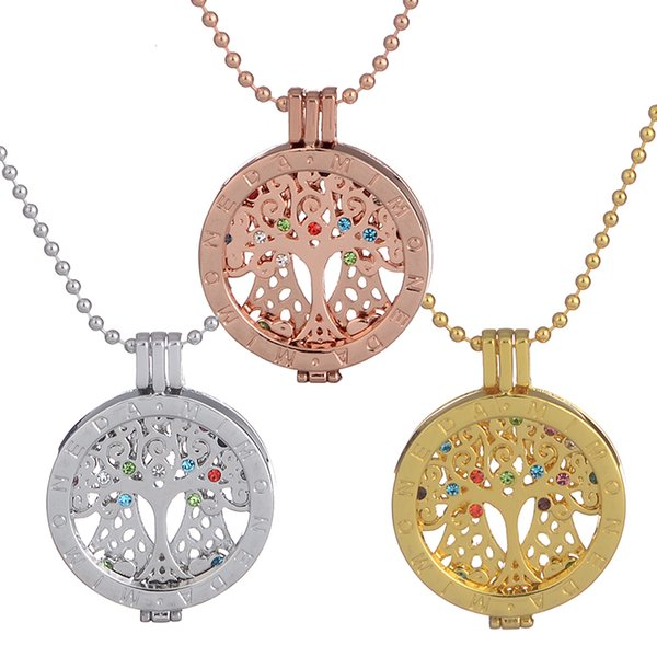 2018 mi moneda coin disc lockets pendant necklace inlaid crystal mi moneda coin disc lockets pendant necklace inlaid crystal rhinestone tree of life charms 72cm long aloadofball Gallery