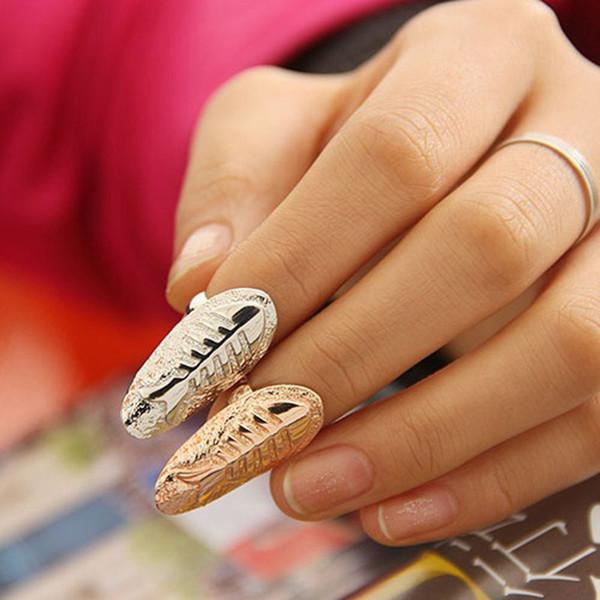 Fashion Fish Fossil ongles alliage or argent poisson os bande bagues femmes déclaration bijoux doigt ongles art autocollant anneaux 080039