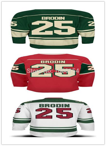 Ucuz En Iyi Otantik Minnesota # 25 Jonas Brodin Forması Renk Yeşil Kırmızı Beyaz 100% Dikişli Buz Hokeyi Formalar Sıcak Satış Toptan