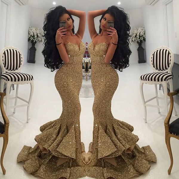 best selling New Designer Mermaid Gold Evening Gowns 2021 Lace Appliques Open Back Sequin Prom Dresses Pageant Gowns