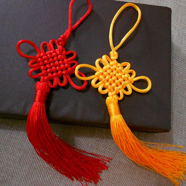 Red/Yellow Color Chinese Knots Fashion Car Hanging Accessories DIY Weaving Handicraft Beautiful HOT Interior Decorations 100pcs/lot SK396