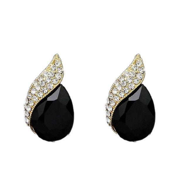 Wholesale- Delicate Chic Teardrop Crystal Gem Stone Inlaid Women Beautiful Earring Jewelry