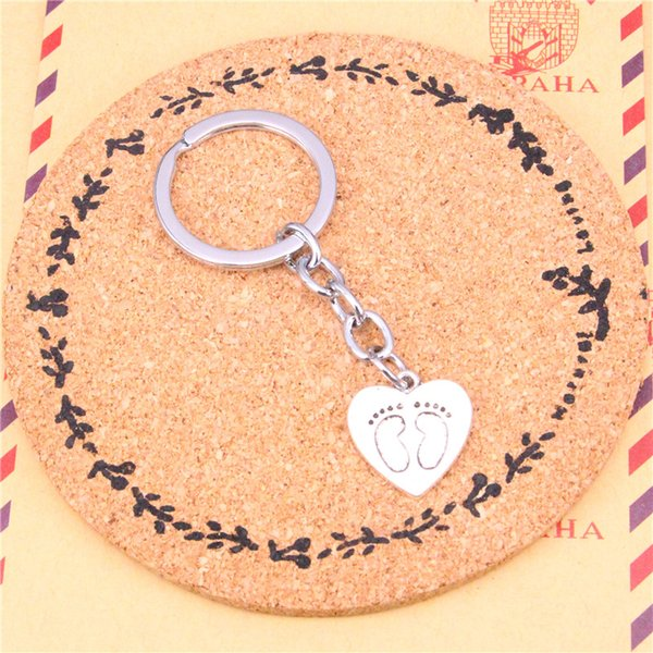 Keychain heart foot prints Pendants DIY Men Jewelry Car Key Chain Ring Holder Souvenir For Gift