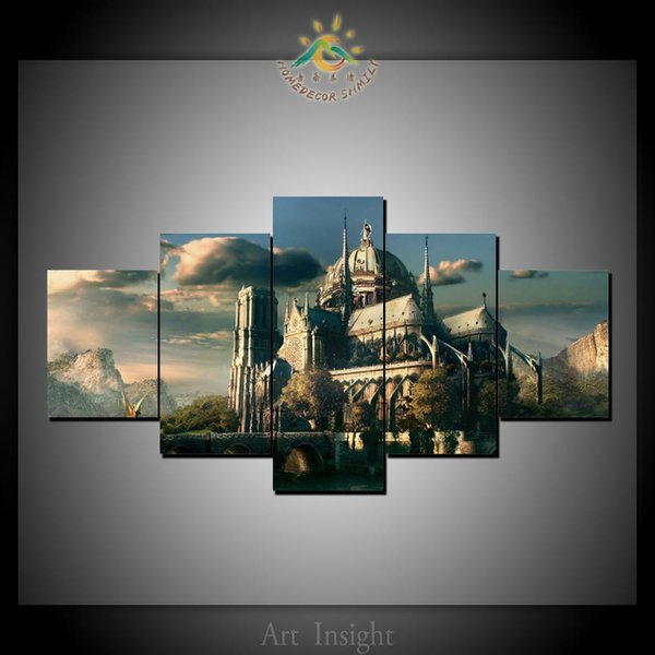 5 Pcs/Set HD Printed Vintage Castle Canvas Art Wall Pictures Canvas Prints Painting Artwork Wall Pictures Home Decoration Wall Decor
