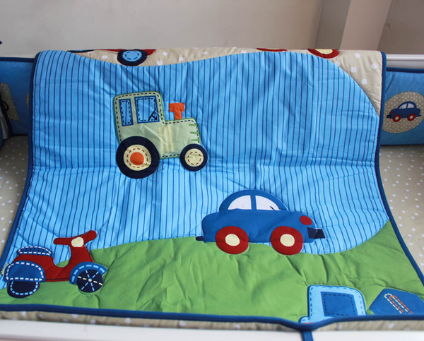 Wholesale 2016 6Pcs Baby bedding set Embroidery blue car traffic tool Crib bedding set cotton Cot bedding set Boy Quilt Bumper Fitted Sheet