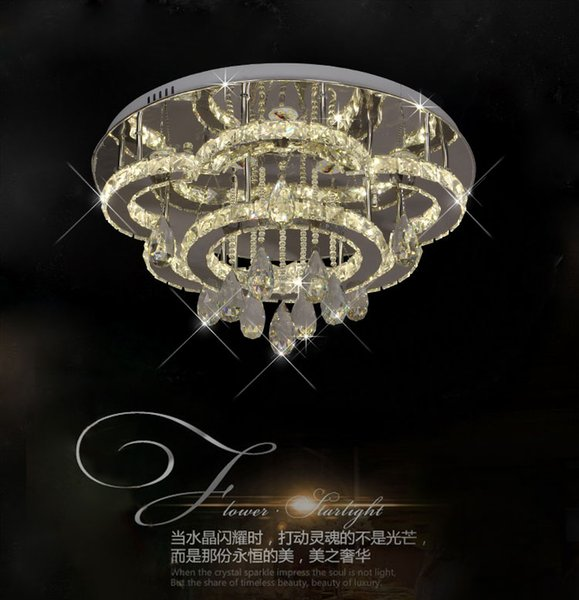 Traditionl reluciente gran lujo redondo LED luz de techo de cristal, blanco de naturaleza / blanco cálido con control remoto